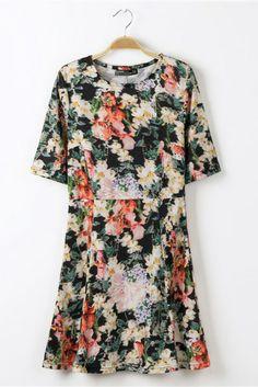 Sweet Floral Print A-line Dress [FXBI00593] - PersunMall.com