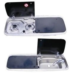 a combination sink/hob with fold down counter space. Marine appliances work so well for tiny homes. Must talk to Rob about this! Micro Kitchen, Compact Kitchen, Small Motorhomes, Tiny House Appliances, Compact Living, Tiny House Movement, Remodeled Campers, Tiny Spaces, Tiny House Living