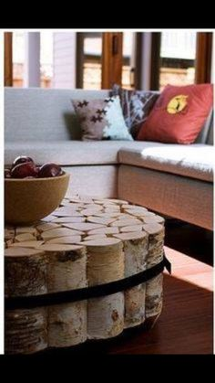 Love the coffee table made out of firewood