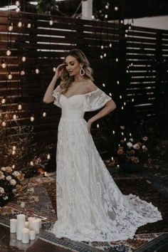 Shop our new Desiree all lace off-the-shoulder wedding dress with sleeves. Cut in a flattering shape; Bohemian Bride, Bohemian Wedding Dresses, Dream Wedding Dresses, Boho Dress, Bridal Dresses, Off Shoulder Wedding Dress Bohemian, Dress Lace, Rustic Wedding Gowns, Hippie Weddings