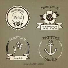 Set of hand drawn vintage tattoos Free Vector