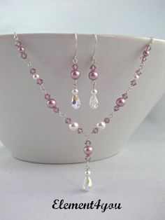 ad6802e50a66 (Lavender) Pearl   Crystal Bridesmaid Jewelry Set by Element4you 42.00   diyjewelry