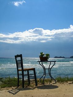 """*Table For One* [From an Island called """"Thassos"""" in the Northern Aegean Sea.] [Photo by *Annurgaia* (Anna Hietanen) July 25 2008 in Greece] 120812 Beautiful World, Beautiful Places, Sea Photo, Outdoor Living, Outdoor Decor, Greece Travel, Greek Islands, Old Pictures, Porches"""