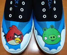 Angry Birds shoes (Keds style), customised by request.