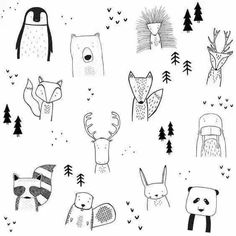Forest Tree Drawing Illustrations Ideas For 2019 Funny Drawings, Doodle Drawings, Doodle Art, Easy Drawings, Animal Drawings, Drawing Animals, Art And Illustration, Woodland Illustration, Illustration Animals