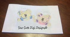 Boy and Girl Snorkeling Bear Applique by SewCuteDigiDesigns, $6.50