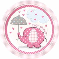pink elephant baby shower supplies including plates and decorations