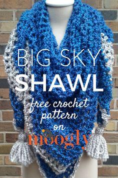 Big Sky Shawl - free crochet pattern on Mooglyblog.com, shawl, wrap, #haken, gratis patroon (Engels), omslagdoek, #haakpatroon