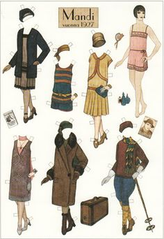 1920's fashion paper dolls- includes a silent film one.