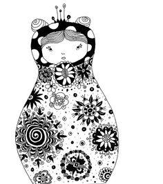 Mustavalkoinen maatuska Kunstjournal Inspiration, Art Journal Inspiration, Matryoshka Doll, Kidsroom, Doodle Art, Body Art, How To Draw Hands, Doodles, Snoopy