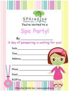 Free printable pamper party invitation templates pamper party spa party invitation free printable sparadise mobile spa inc vancouver premier mobile spa filmwisefo