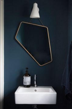 The blue. // Le miroir asymétrique Ego Mirror par Design By Us - FrenchyFancy Bathroom Toilets, Small Bathroom, Bathroom Sets, Mirror Bathroom, Bathroom Cabinets, Bathroom Vanities, Modern Bathroom, Bathroom Inspiration, Interior Inspiration