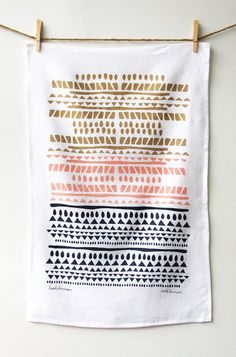 Horizon Tea Towel by leahduncan on Etsy, $24.00. rows of patterns nice idea in different colours
