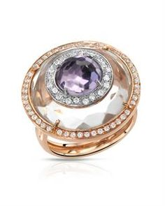 FALCINELLI Made in Italy Brand New Ring With 13.00ctw Precious Stones - Genuine Amethyst,  Clean Diamonds and Quartz  18K Two tone Gold. Total item weight 13.0g .