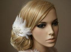 Braut Fascinator Federn Brosche Headpiece ivory