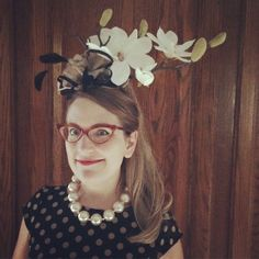 Magnolia fascinator from Mountains to Sea festival, Dun Laoghaire, March 2015 - assembled on location! http://philipreeve.blogspot.co.uk/2015/03/mountains-to-sea-2015.html