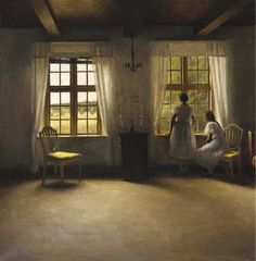 Young Girls standing by a Window in an Interior, 1906, Peter Vilhelm Ilsted. Danish (1861 - 1933)