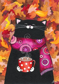 Happy Kitty with Cocoa and Comfy Scarf Illustration by Cute Kittens, Cats And Kittens, Crazy Cat Lady, Crazy Cats, I Love Cats, Cool Cats, Wal Art, Image Chat, Kawaii