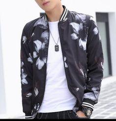 Plus size flower bomber jacket for men
