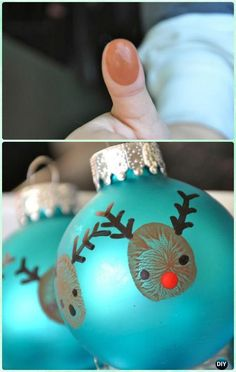 DIY Finger Print Reindeer Ornament Instruction-DIY Christmas Ornament Craft Ideas For Kids