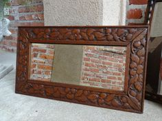 Antique English Carved Oak Frame Beveled Wall Mirror Plateau w acorns & foliage