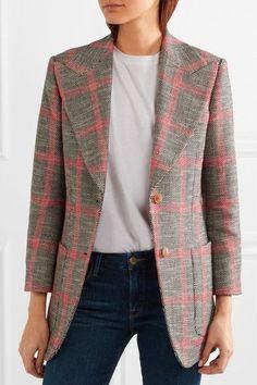 Gucci - Appliquéd Checked Wool-blend Tweed Blazer - Mushroom