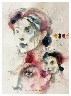 Studier af en ansigt 70 x 100 centimeter - blyant og akvarel