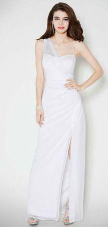 DB Studio Long One Shoulder Sheer Matte Jersey Dress Style 643653DB #davidsbridal #weddingdress #weddings