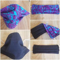 Face Mask Purple and Blue print and Black Fabric on other side Reversible / Reusable  / Three Layer Cotton /  Washable /  Handmade Face Mask She Mask, Fruit Print, Daughter Love, Have A Great Day, Black Fabric, Solid Black, Purple, Blue, Cotton Fabric