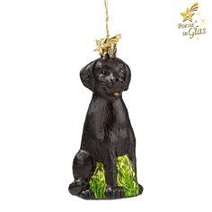 Labrador - Exklusiver Baumschmuck aus Glas von Käthe Wohlfahrt® Des Menschen bester Freund Poesie in Glas® - kristallbesetzter Messingkomet am Aufhänger schöne Geschenkidee für alle Hundefreunde mit G