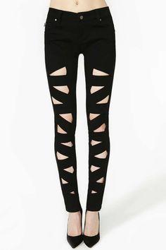 Tripp NYC Lattice Leg Skinny Jeans | Shop Sale at Nasty Gal