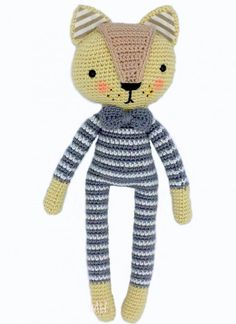 Free crochet pattern for cat amigurumi. Crochet this cute cat in striped pajamas amigurumi doll using this free crochet pattern for all the cat lovers to snuggle with! Crochet Amigurumi Free Patterns, Crochet Mittens, Crochet Doll Pattern, Crochet Gratis, Free Crochet, Cat Crochet, Häkelanleitung Baby, Amigurumi Doll, Doll Patterns