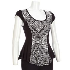 Black/White Geo Print Princess Top-Jr.