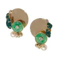 Jean Vendome Pearl Jade Emerald Earclips 1