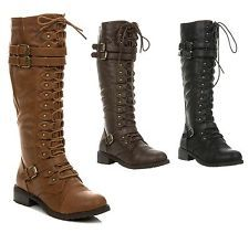 New Women's Knee High Lace Up Buckle Fashion Combat Military Boots TIMBERLY-65