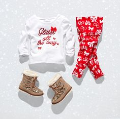 Girls' fashion | Graphic top | Leggings | Set | Holidays | Glitter boots | The Children's Place