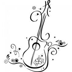 Search, Guitar wall and Wall art decal - ClipArt Best Music Drawings, Pencil Art Drawings, Guitar Wall Art, Music Tattoos, Doodle Art, Line Art, Wall Stickers, Stencils, Musicals