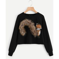 SheIn(sheinside) Faux Fur Fox Patch Sweatshirt (60 RON) ❤ liked on Polyvore featuring tops, hoodies, sweatshirts, black, graphic tops, patch sweatshirt, graphic print sweatshirts, round neck sweatshirt and sleeve top