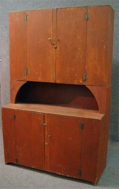 19Th Century Stepback Cupboard In Old Red Paint