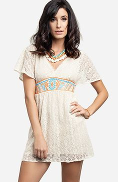 Embroidered Waist Lace Dress