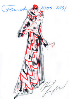 Sketch by Karl Lagerfeld for FENDI Fall-Winter 2000/2001 Courtesy Fendi Archives, © Fendi Archives-Wmag