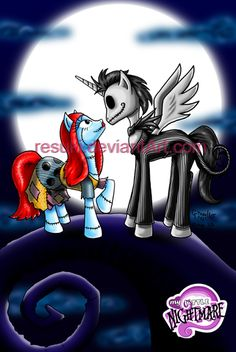 My Little Nightmare by *resuki on deviantART - My Little Pony meets Tim Burton's Nightmare before Christmas, featuring Jack Skellington and Sally as ponies.