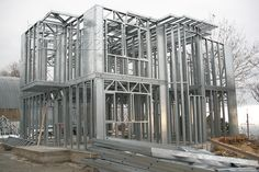 horsea specialized in the light steel buildingsChina Steel Consruction Steel Frame House, Steel House, Metal Stud Framing, Metal Structure, Steel Buildings, Metal Homes, Prefab, Home Projects, Villa