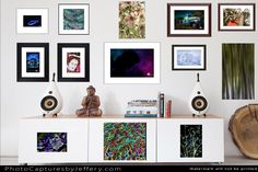 A creative setting of artistic photo creations that are framed, canvas, metal, acrylic and art prints in a mixture of sizes and styles. You will notice magnet backed metal prints hanging on the white metal doors of entertainment center or hutch or living room table. These prints will calm, sooth your spirit and spark your imagination after a long day of work, running the kids here and there and dealing with gloomy dark winter weather.
