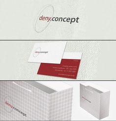 Criação de logo, cartão de visitas e sacola da marca Deny Concept.