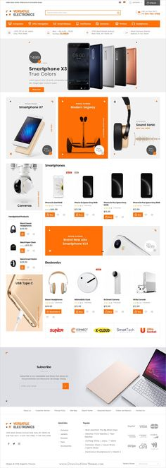 Versatile is clean and modern design responsive #Magento theme for stunning #electronics store #eCommerce website with 6 niche homepage layouts download now..