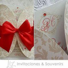 Rojo / Red in love ♡ invitaciones de boda en beige y rojo / red and beige wedding invitations /  tarjeteria / damask pattern