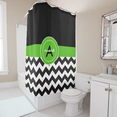 Black Green Chevron Shower Curtain