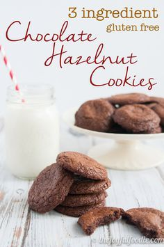 Easy three ingredient Chocolate Hazelnut Cookies are the perfect soft, moist cookie with crispy edges...and naturally gluten free!