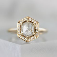 Renata Hexagonal Step Rose Cut Diamond Ring in Yellow Gold - Gem Breakfast Rose Cut Diamond, Diamond Bands, Halo Diamond, Traditional Engagement Rings, Alternative Engagement Rings, Conflict Free Diamonds, Wedding Rings, Ethereal, Finger